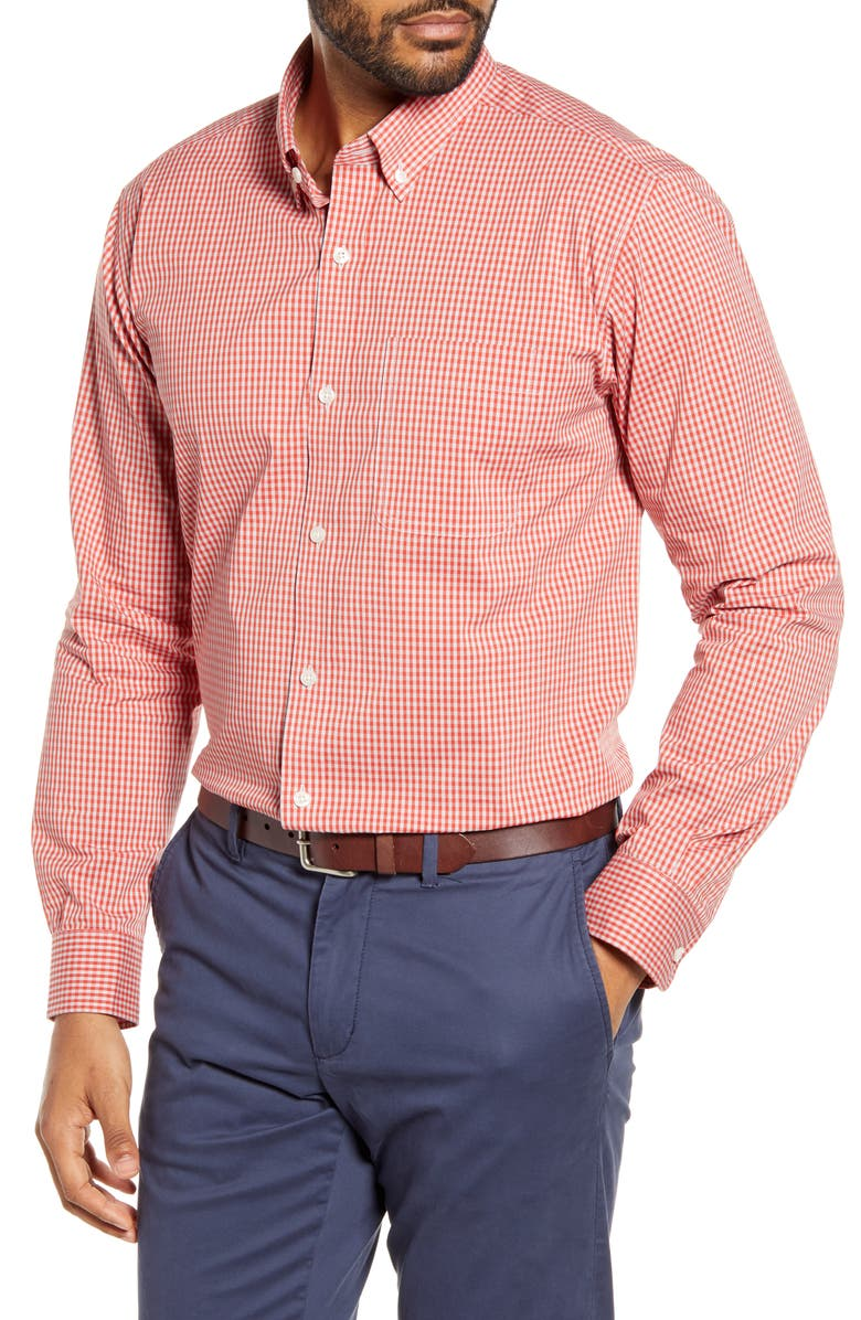 CUTTER & BUCK Anchor Classic Fit Gingham Shirt, Main, color, MARS