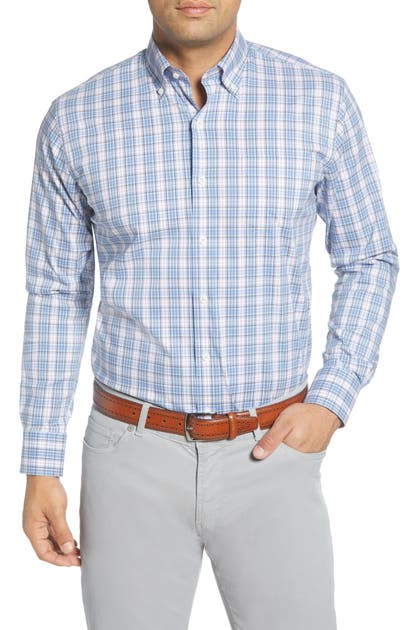 Peter Millar T-shirts CROWN COMFORT THEODORE REGULAR FIT CHECK BUTTON-DOWN SHIRT