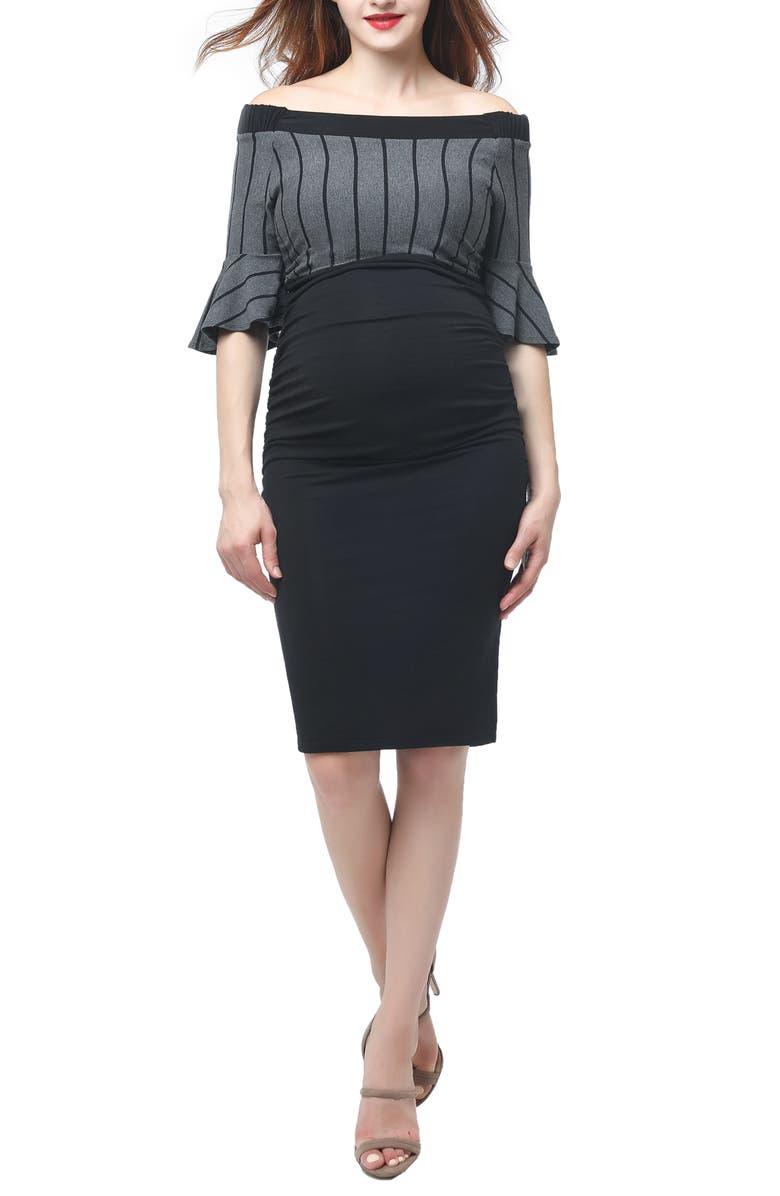 KIMI AND KAI Josephine Off the Shoulder Body-Con Maternity Dress, Main, color, BLACK/ GRAY