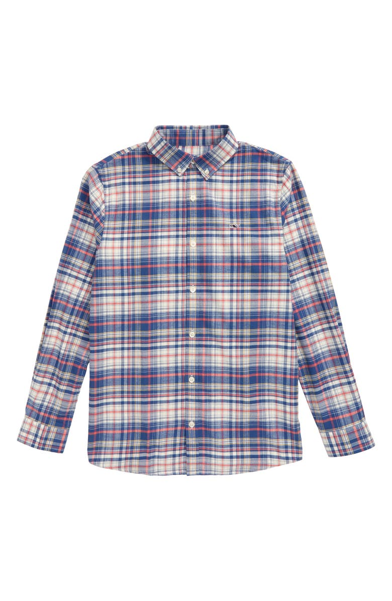 VINEYARD VINES Harpers Flannel Whale Button-Down Shirt, Main, color, LOBSTER REEF