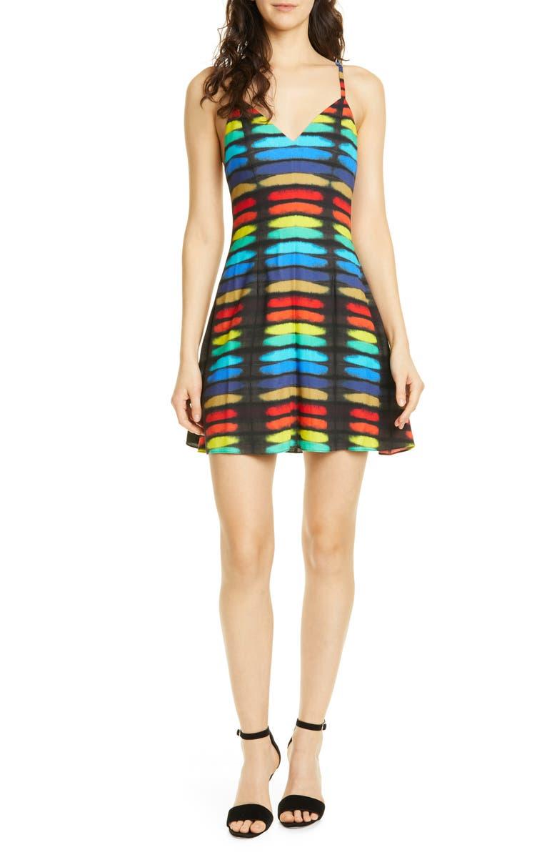 ALICE + OLIVIA Alves Fit & Flare Cocktail Dress, Main, color, RAINBOW BLOCK TIE DYE