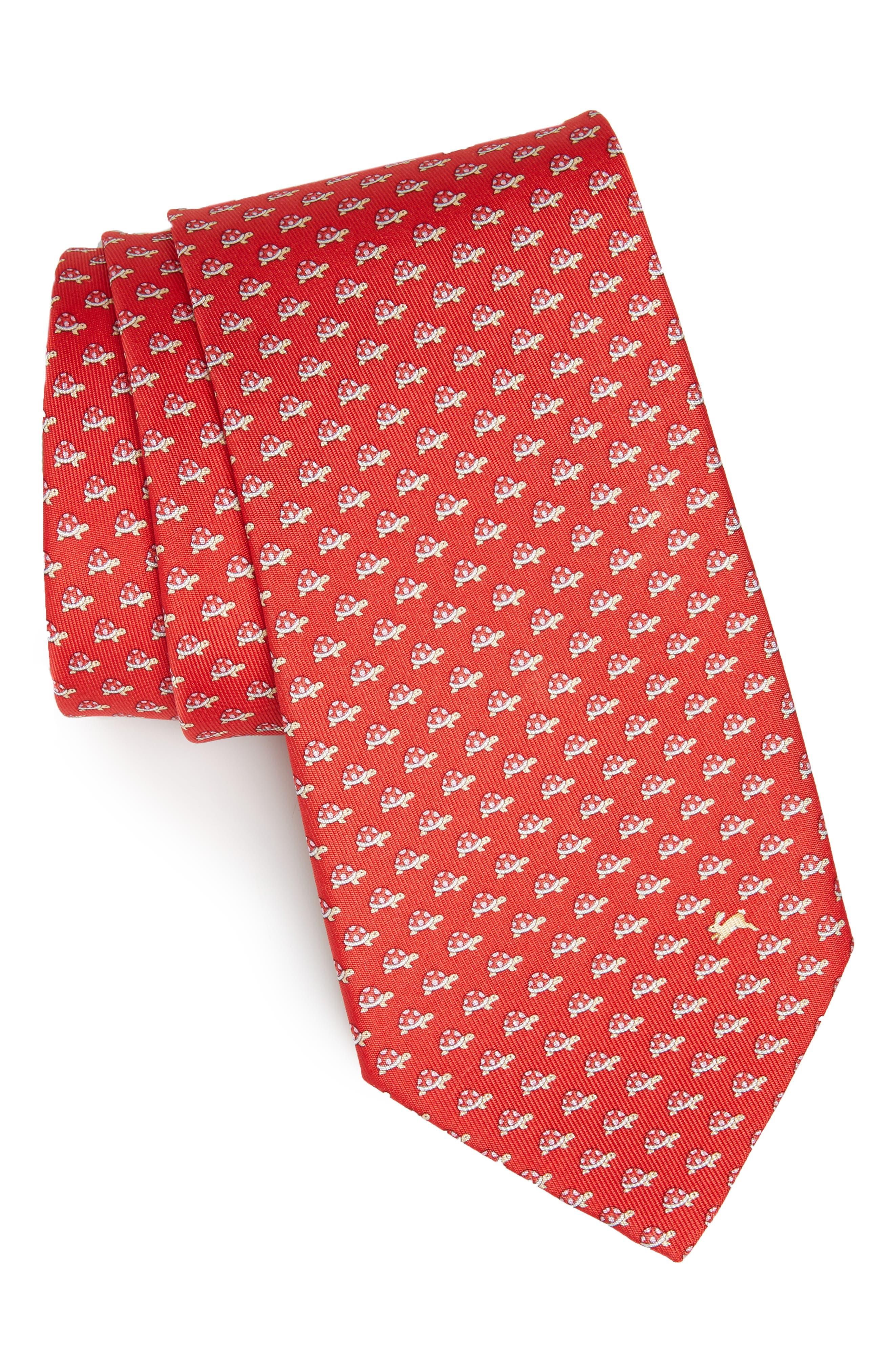 Gaudio Print Silk Tie, Main, color, RED/ CORAL