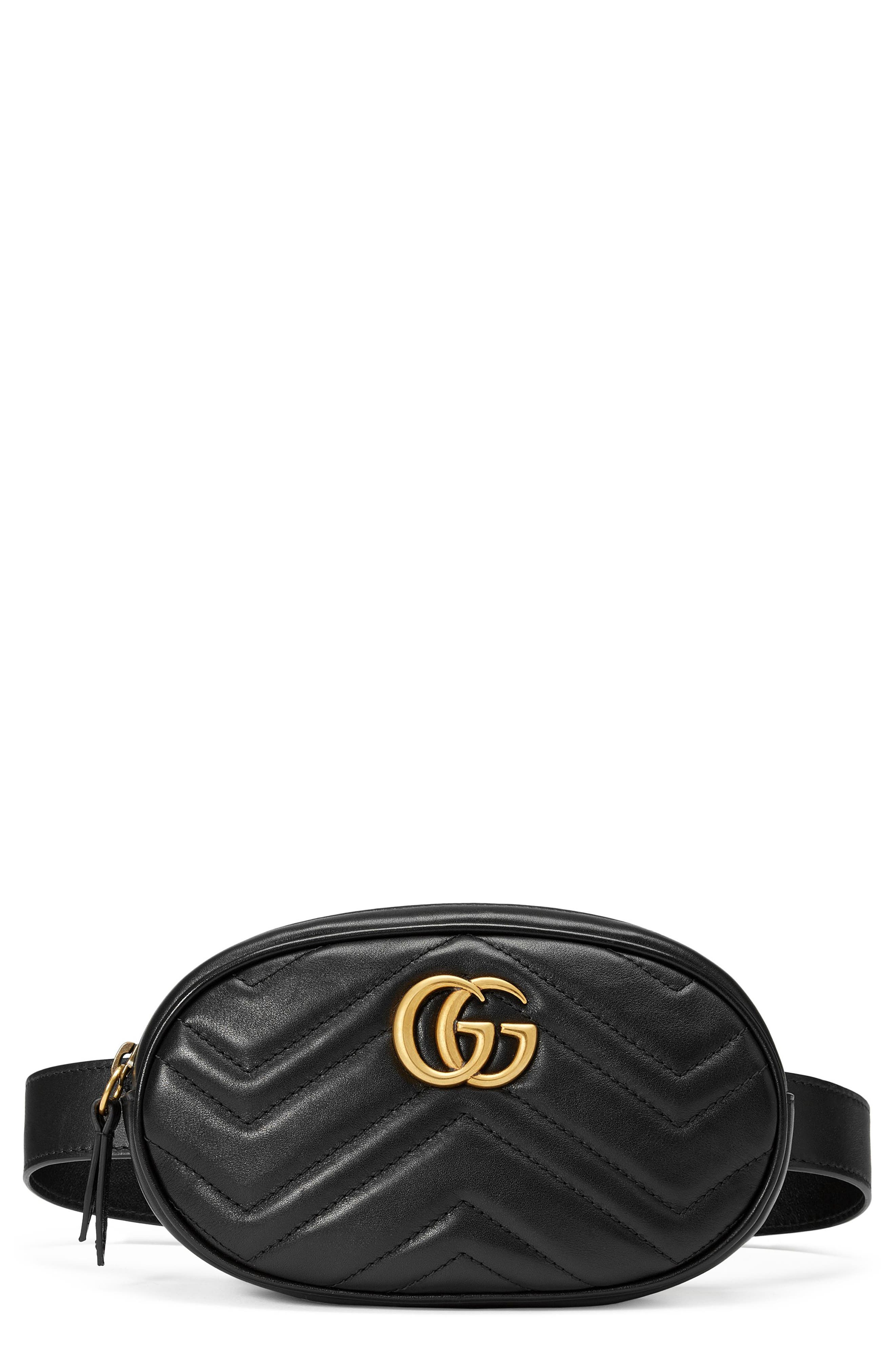 A jaunty addition to the GG Marmont line, this leather belt bag features matelasse chevrons, double-G hardware in a warm golden tone and a just-right interior. Style Name: Gucci Gg Matelasse Leather Belt Bag. Style Number: 5491129. Available in stores.