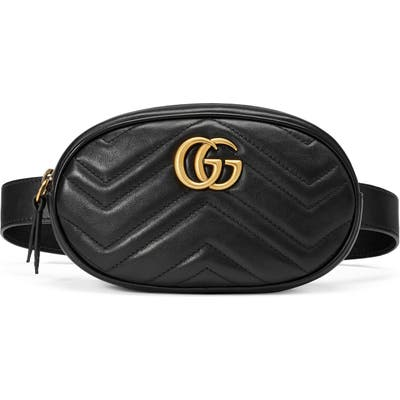 Gucci Matelasse Leather Belt Bag - Black