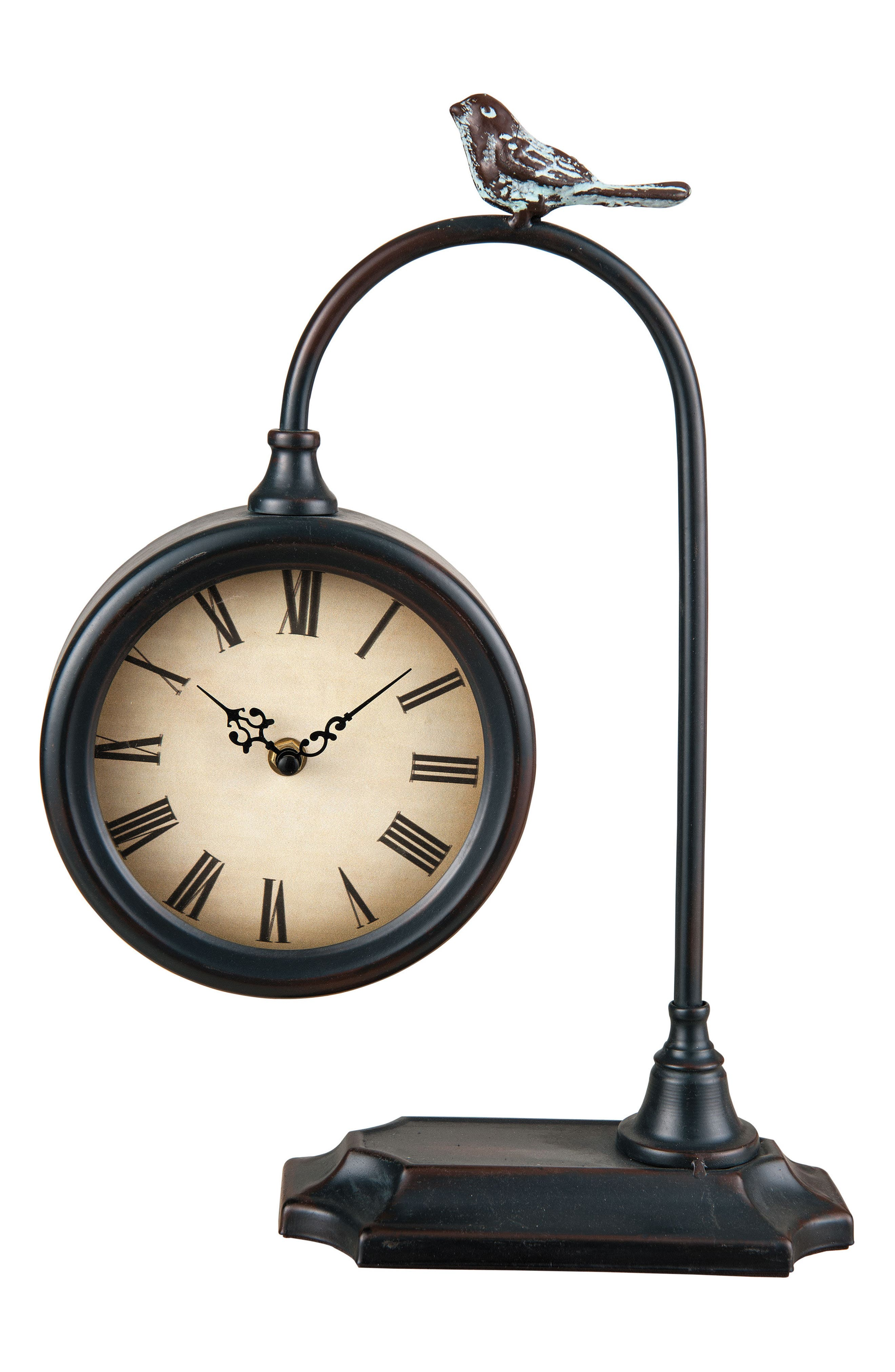 Foreside Bird Table Clock Size One Size  Black