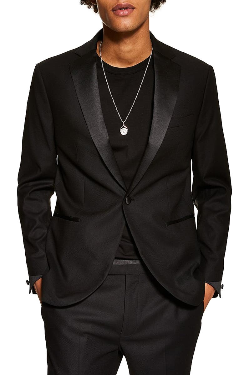 TOPMAN Slim Fit Tuxedo Jacket, Main, color, BLACK