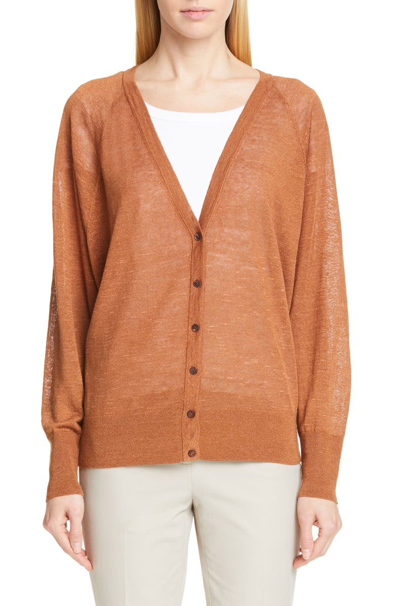 LAFAYETTE 148 NEW YORK Relaxed Linen Blend Cardigan, Main, color, 200