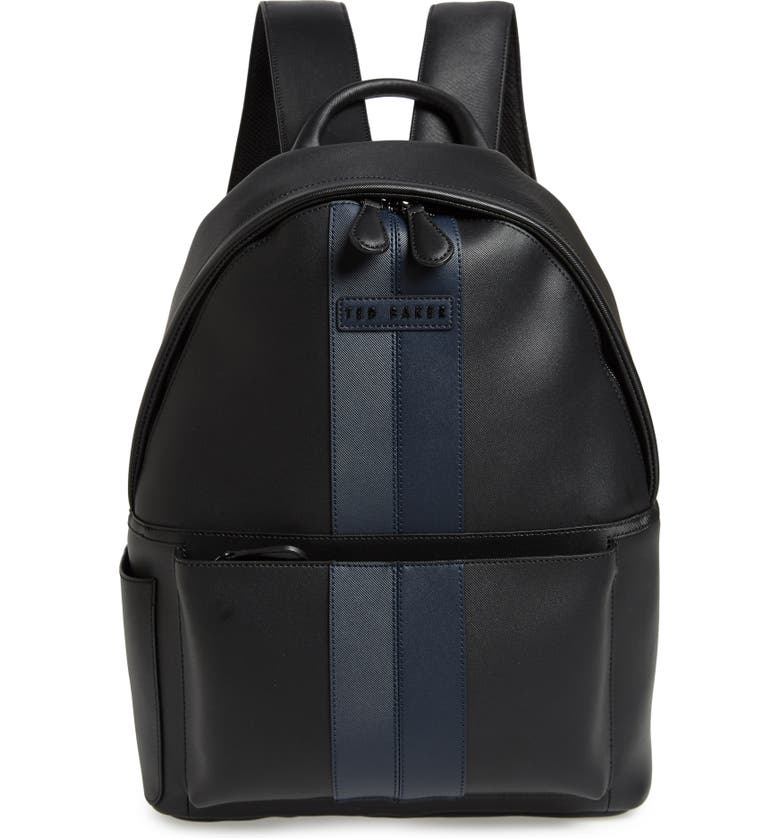 TED BAKER LONDON Stripe Faux Leather Backpack, Main, color, BLACK