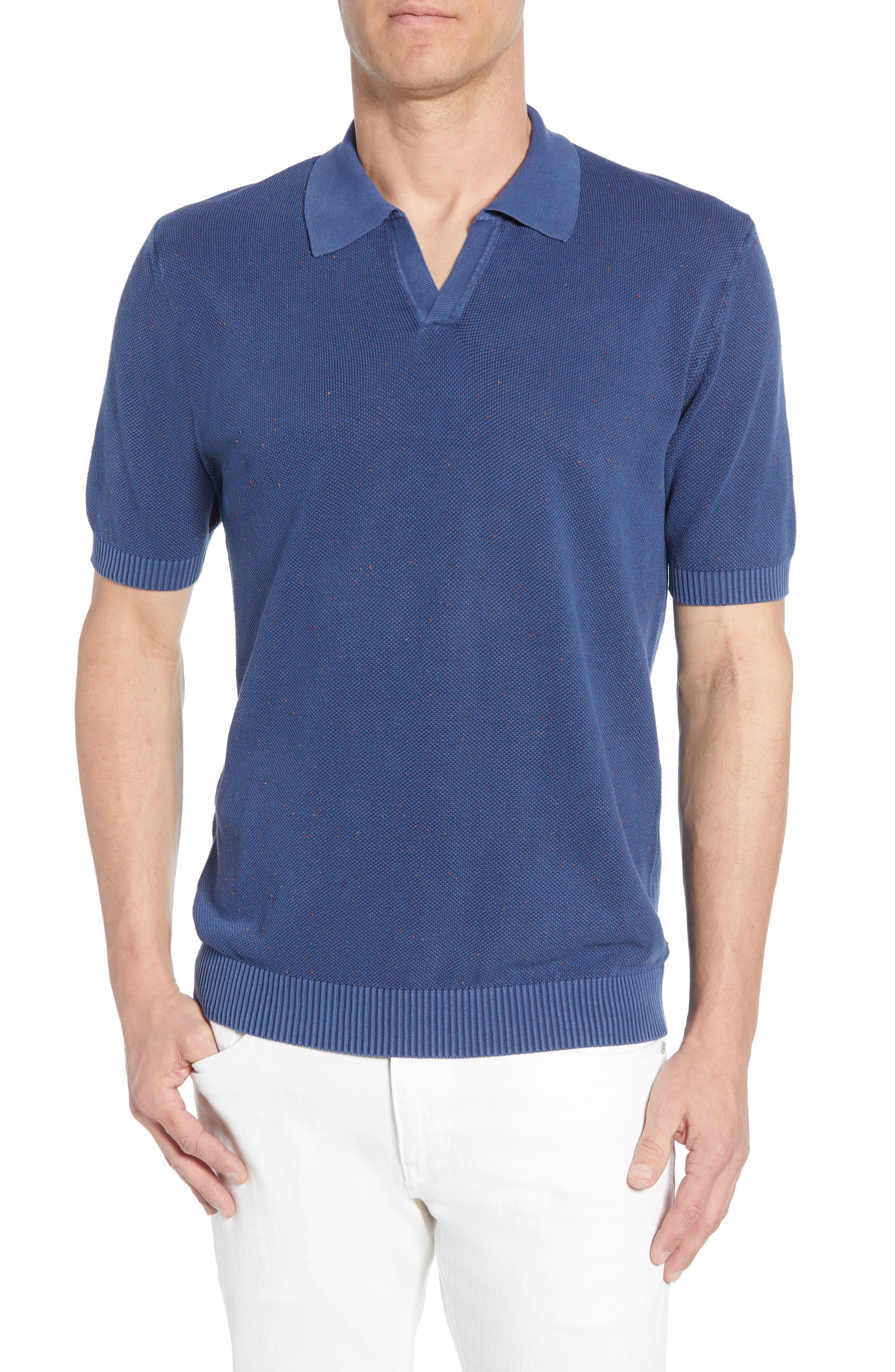 men's bugatchi neppy johnny collar polo, size large - blue