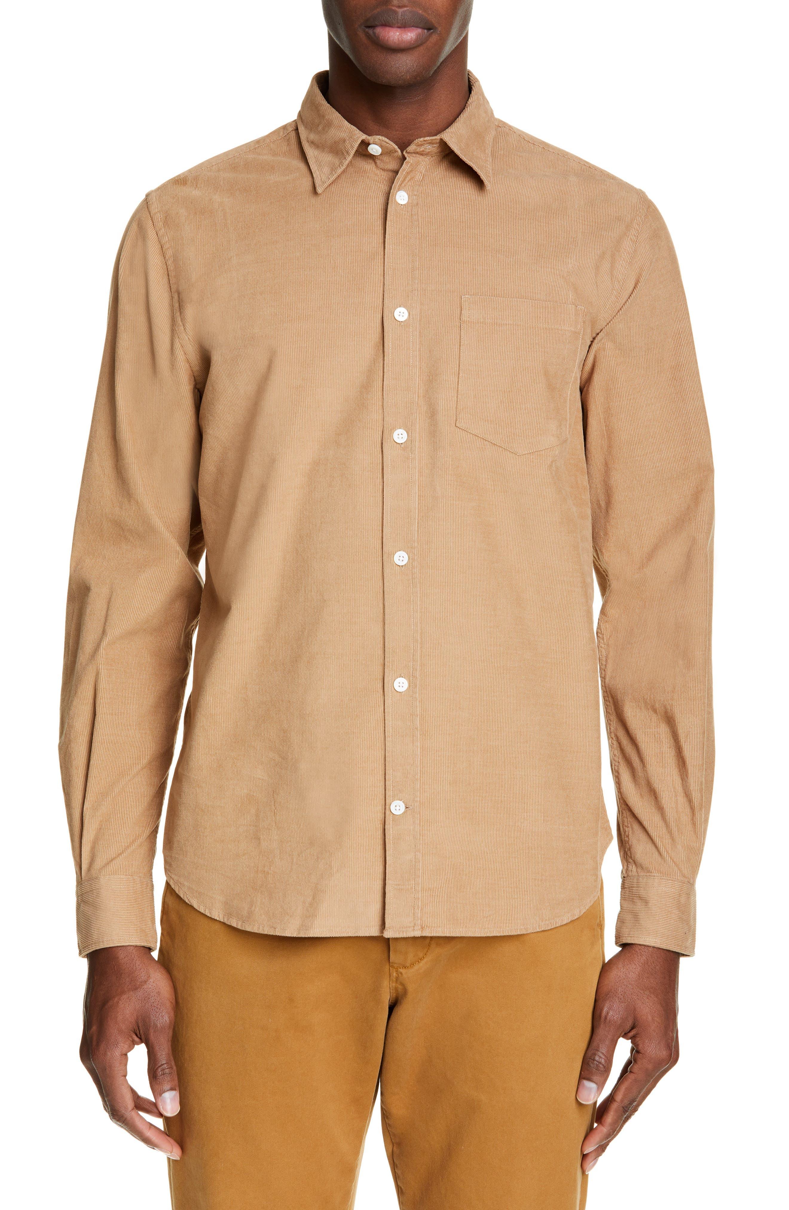 Osvald Corduroy Shirt, Main, color, UTILITY KHAKI