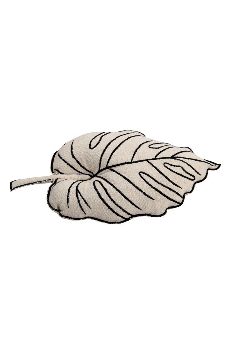 LORENA CANALS Leaf Accent Pillow, Main, color, CREAM
