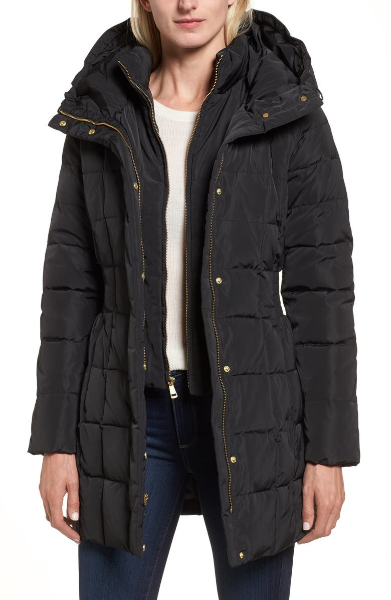 COLE HAAN SIGNATURE Cole Haan Hooded Down & Feather Jacket, Main, color, BLACK