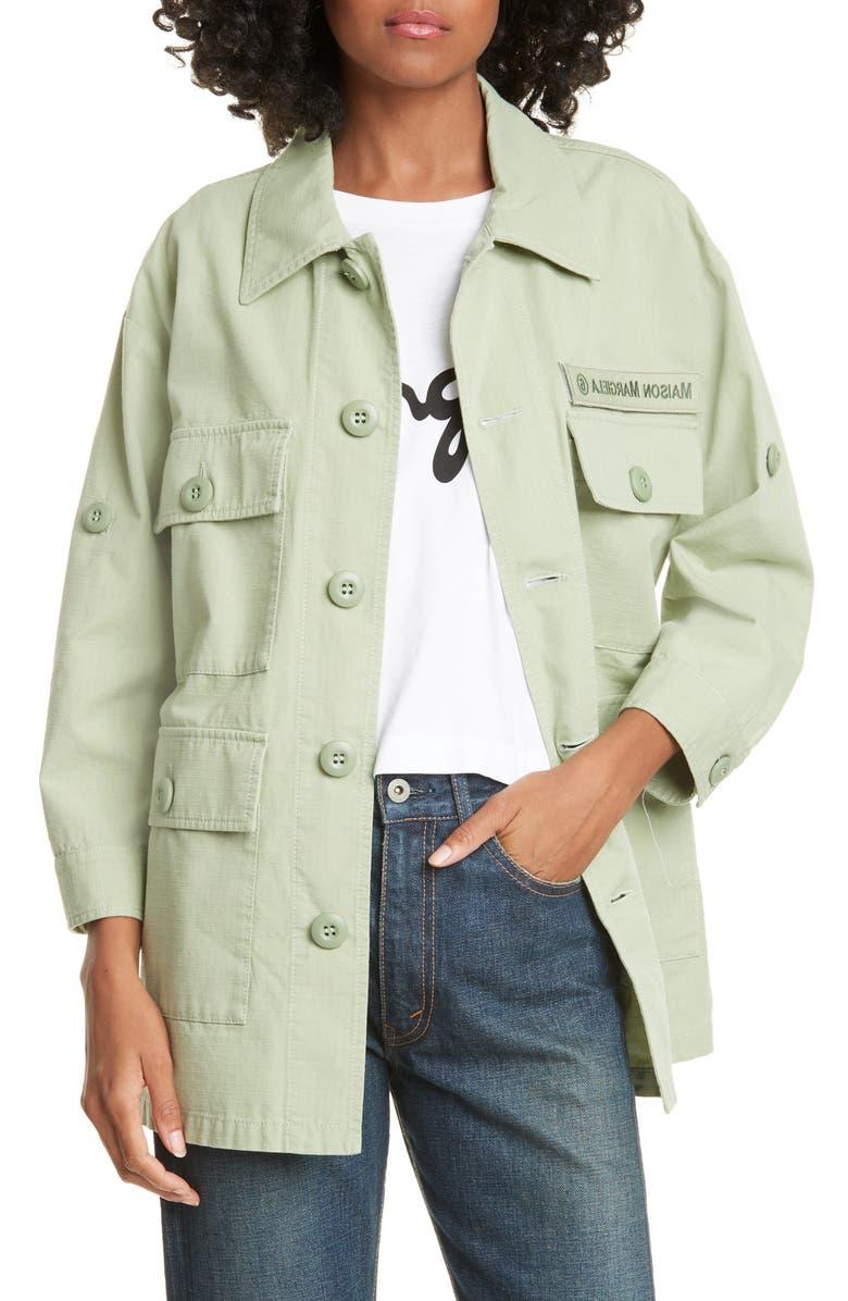 MM6 MAISON MARGIELA Cotton Military Jacket, Main, color, MINT