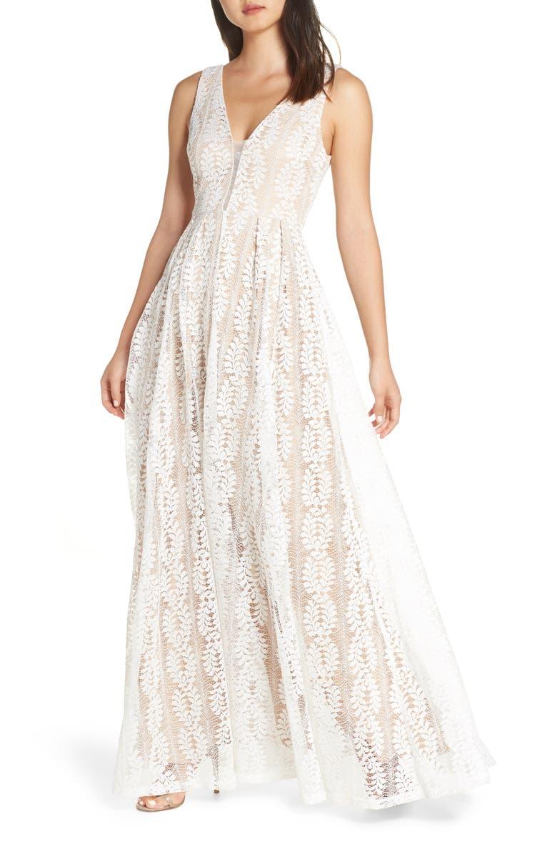 LULUS Eliana Lace V-Neck Gown, Main, color, 100