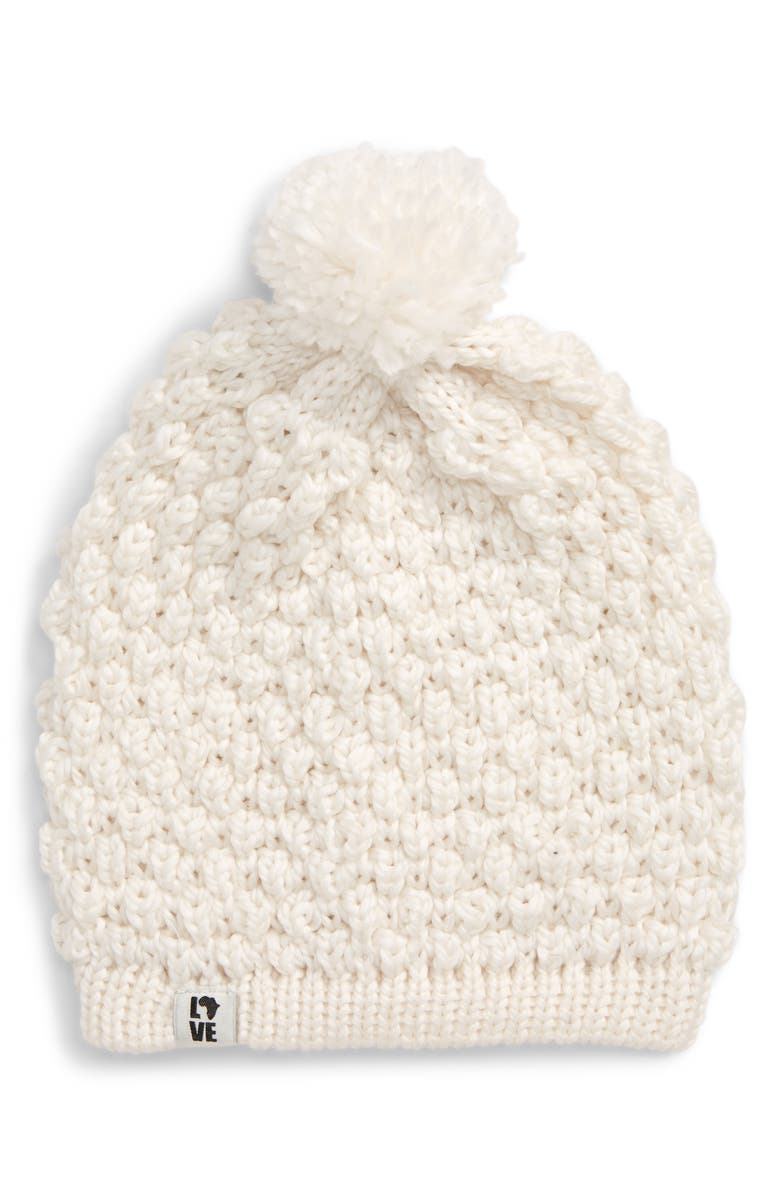 KROCHET KIDS Penny Pompom Beanie, Main, color, WHITE