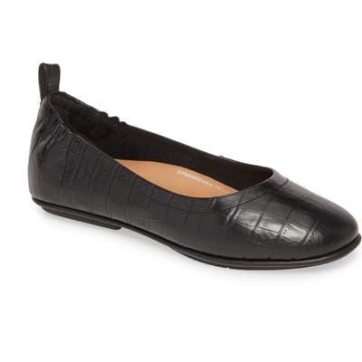 Fitflop Allegro Croc Embossed Ballet Flat, Black
