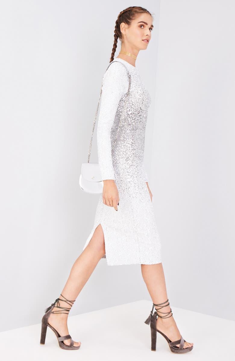 DRESS THE POPULATION Brooke Sequin Midi Dress, Main, color, 040