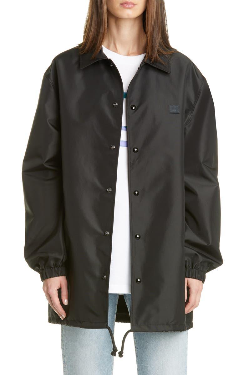 ACNE STUDIOS Oscoda Face Patch Coach's Jacket, Main, color, BLACK