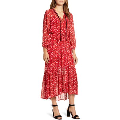 Lucky Brand Ryan Floral Ruffle Hem Georgette Dress, Red