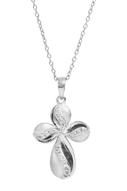 Image of Savvy Cie Sterling Silver CZ Satin Cross Pendant Necklace