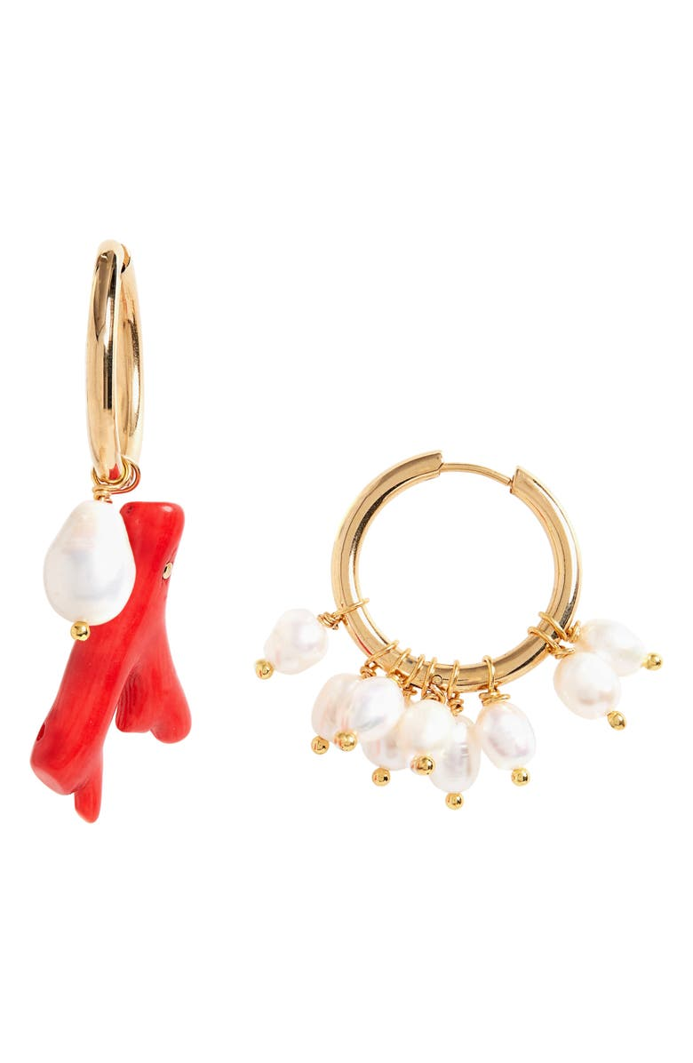 TIMELESS PEARLY Mismatched Hoop Earrings, Main, color, 710