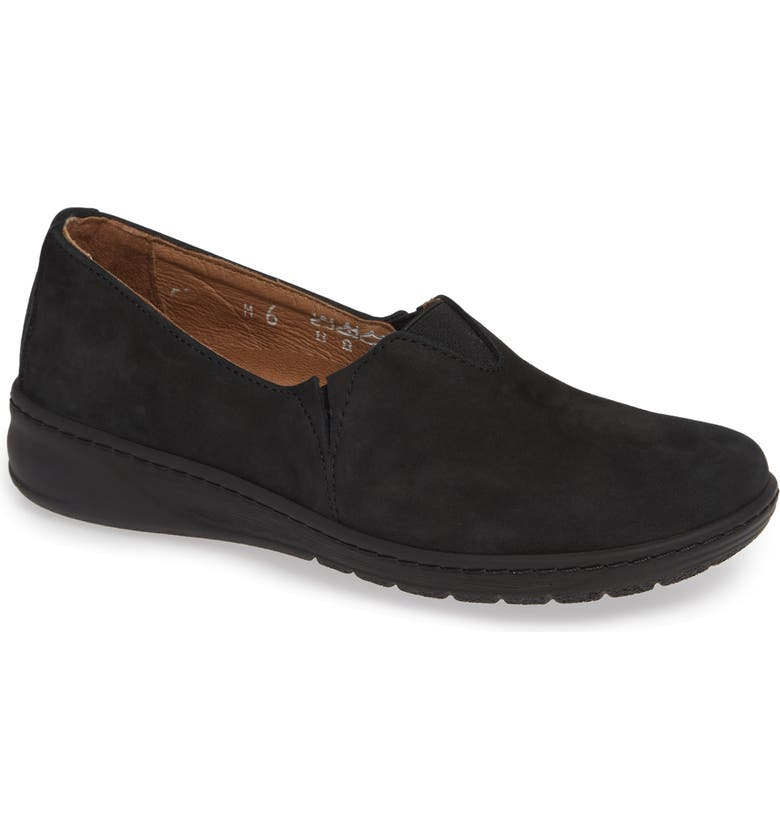 DAVID TATE Adele Slip-On, Main, color, BLACK NUBUCK LEATHER