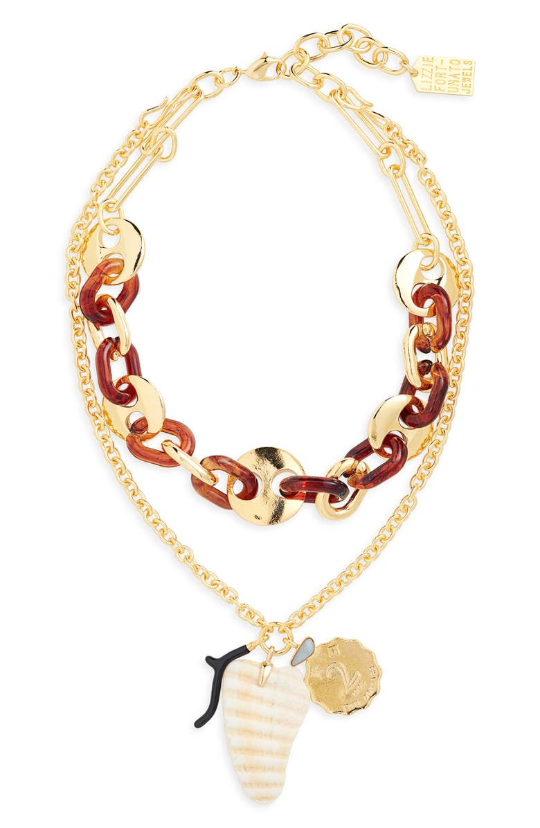 LIZZIE FORTUNATO Elba Layered Charm Necklace, Main, color, TOROISE/ GOLD