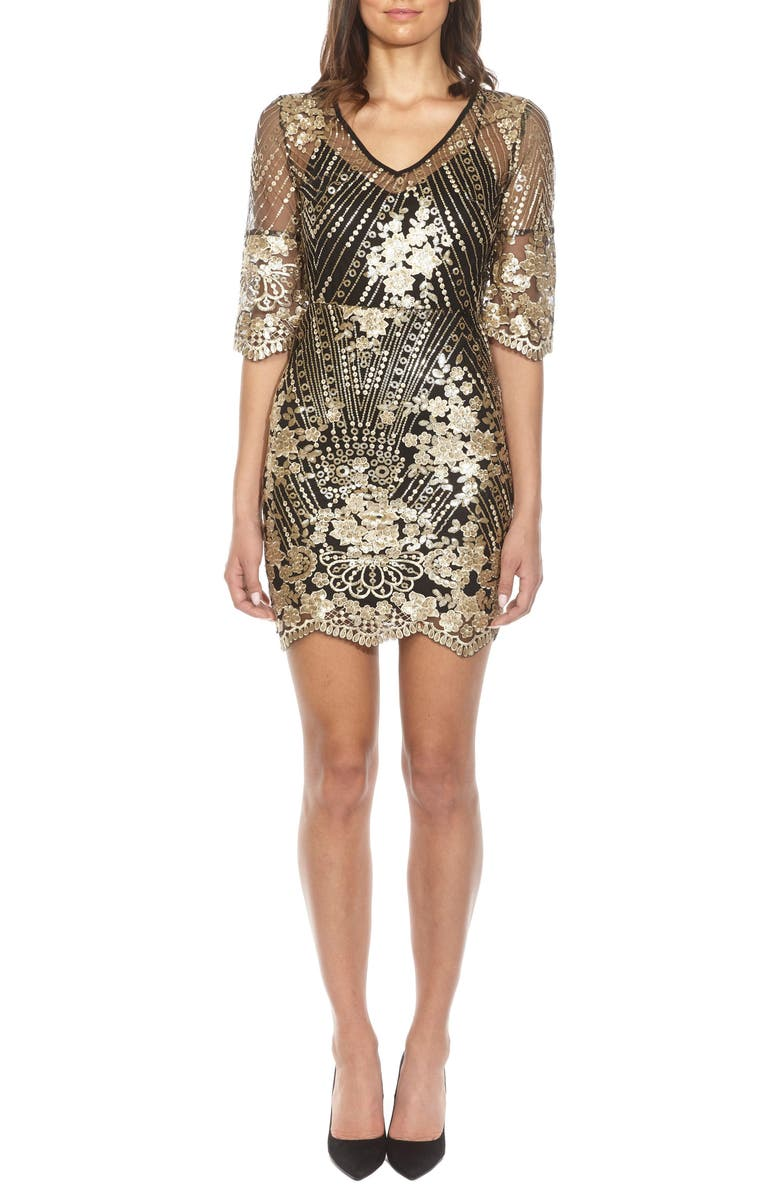 TFNC Casey Sequin Embroidered Minidress, Main, color, 001