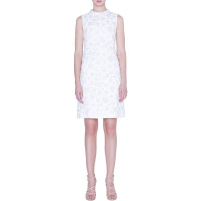 Akris Floral Crinkle Jacquard Dress, White
