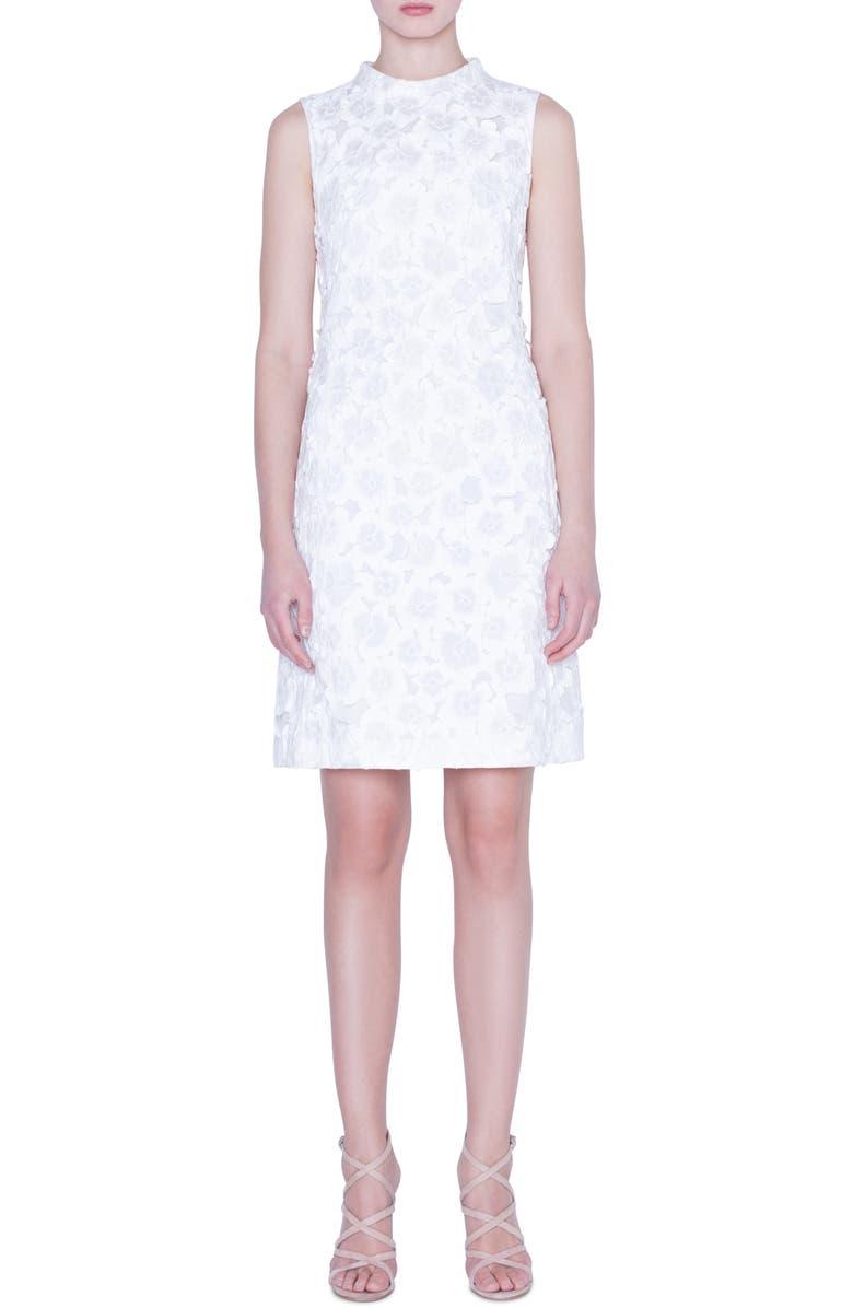 AKRIS Floral Crinkle Jacquard Dress, Main, color, CRISP WHITE
