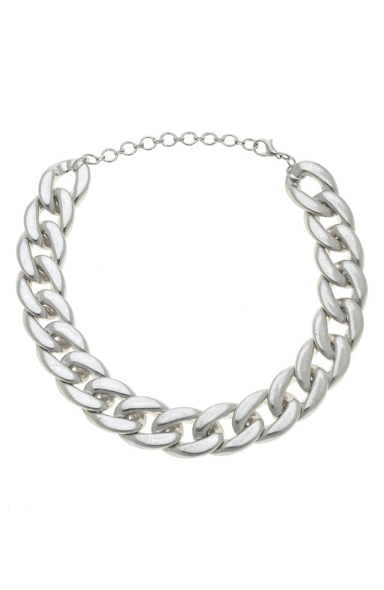 CANVAS JEWELRY Cerise Statement Chain Necklace, Main, color, SILVER