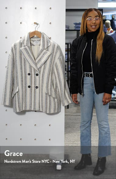 Fillie Stripe Double Breasted Coat, sales video thumbnail