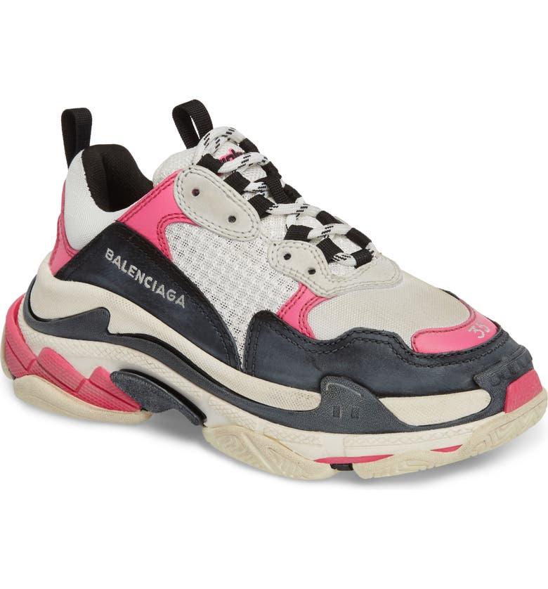 a96427799 Triple S Low Top Sneaker, Main, color, WHITE/ BLACK/ PINK