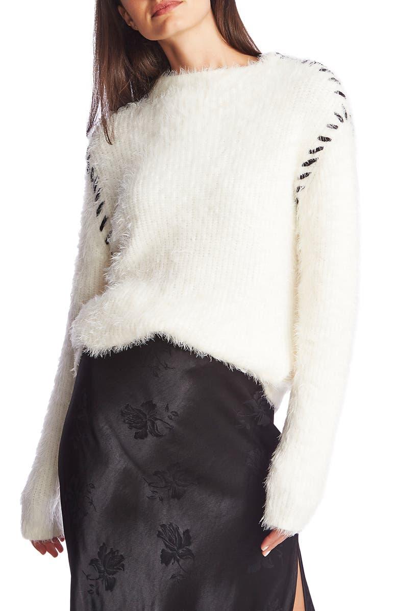 1.STATE Eyelash Fringe Mockneck Sweater, Main, color, ANTIQ. WHITE