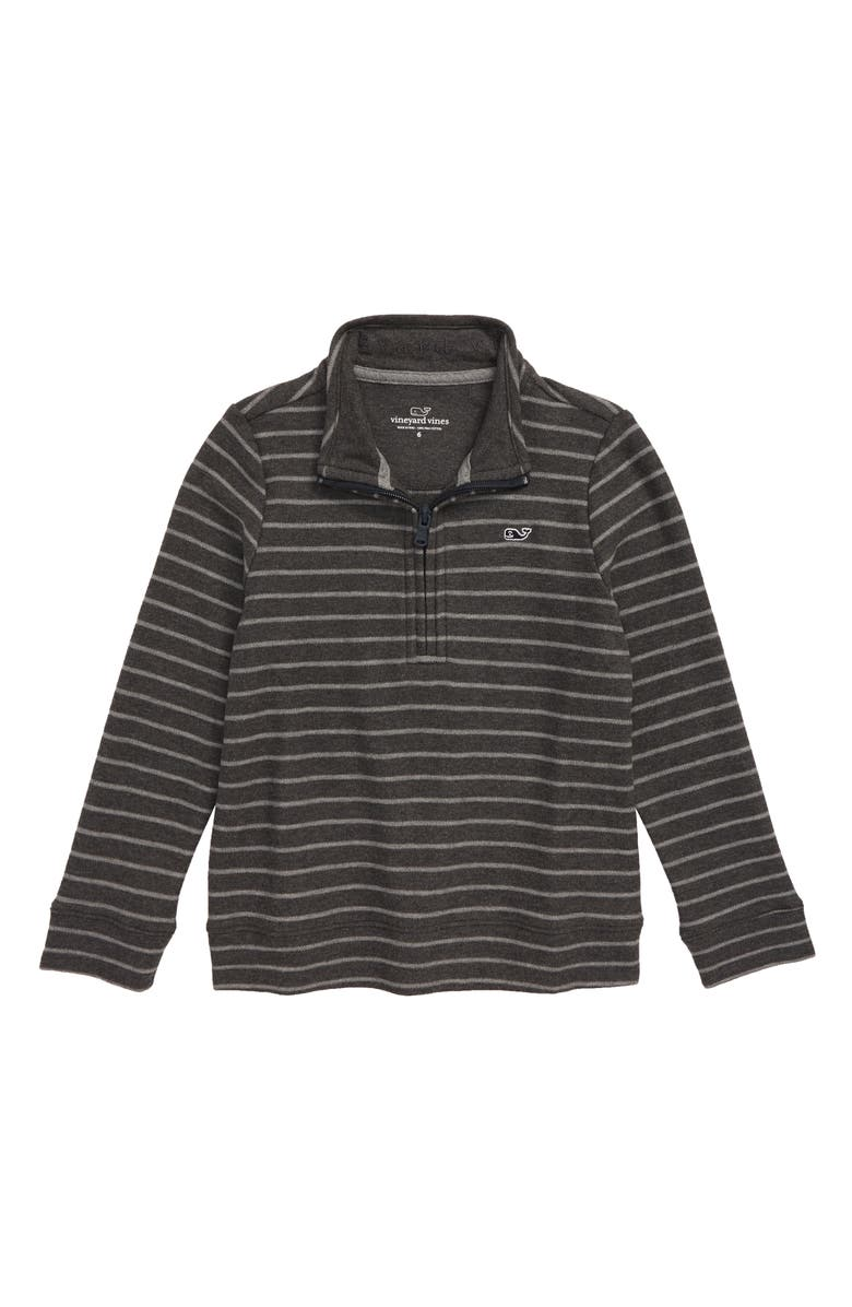 VINEYARD VINES Striped Saltwater Half Zip Pullover, Main, color, CHARCOAL HEATHER