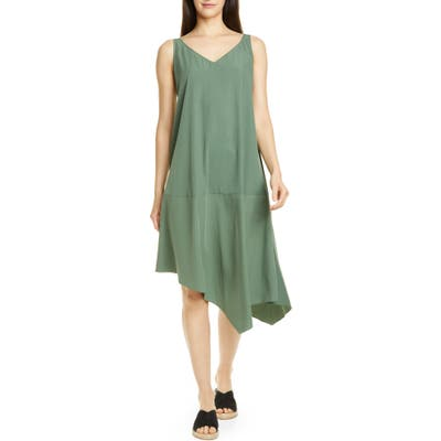Petite Eileen Fisher Asymmetrical Shift Dress, Green