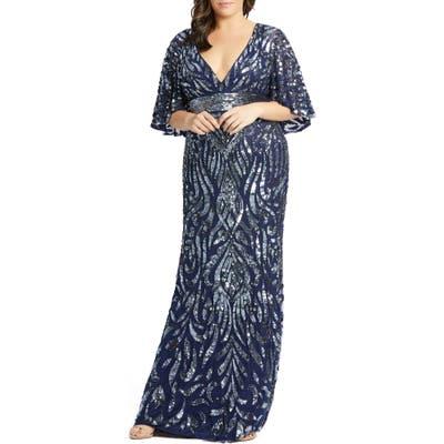 Plus Size MAC Duggal Sequin Cape Sleeve Evening Gown, Blue