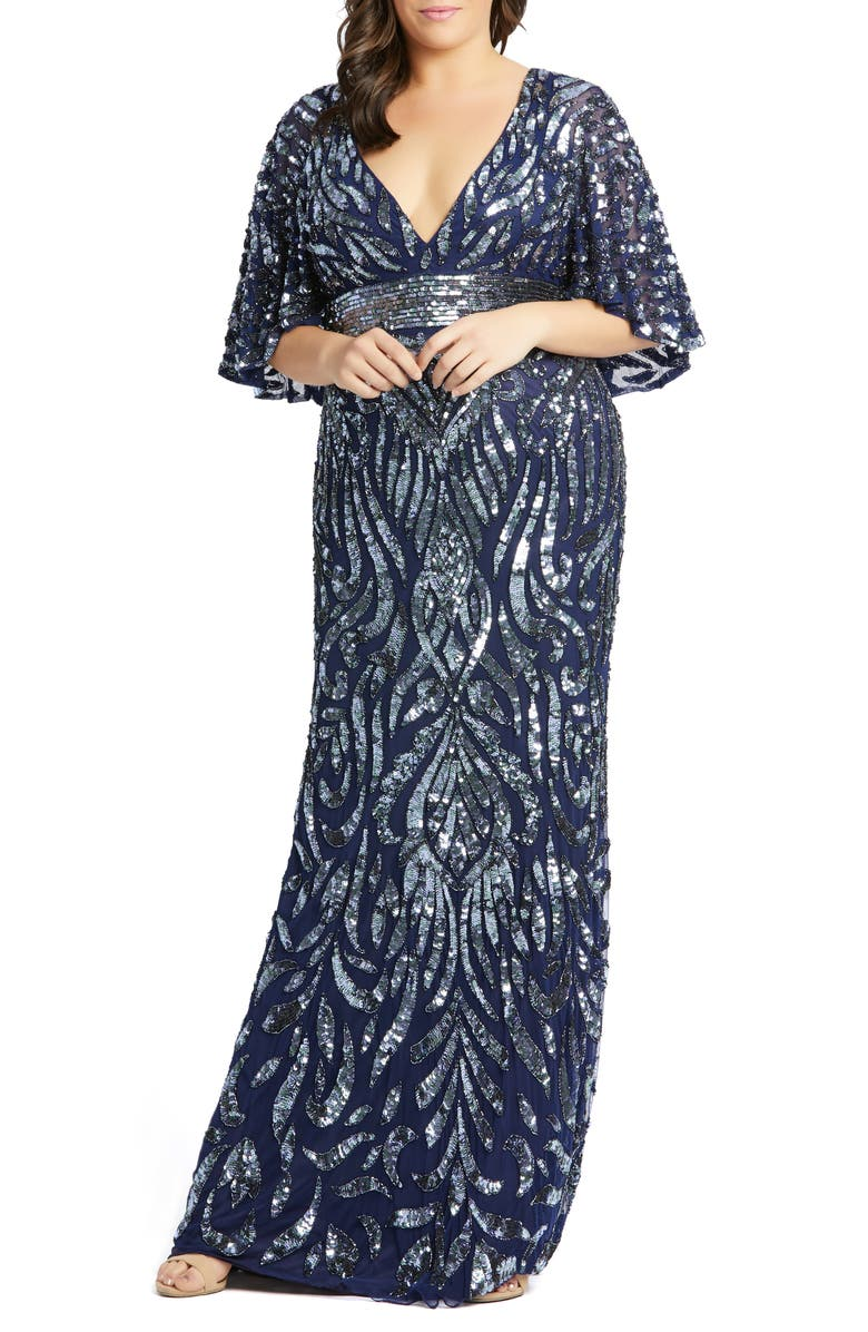 MAC DUGGAL Sequin Cape Sleeve Evening Gown, Main, color, MIDNIGHT