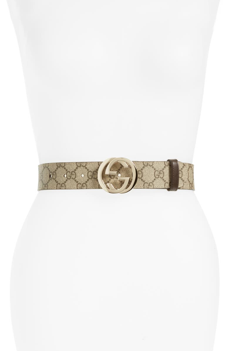 GUCCI Logo Buckle Belt, Main, color, BEIGE EBONY/ COCOA