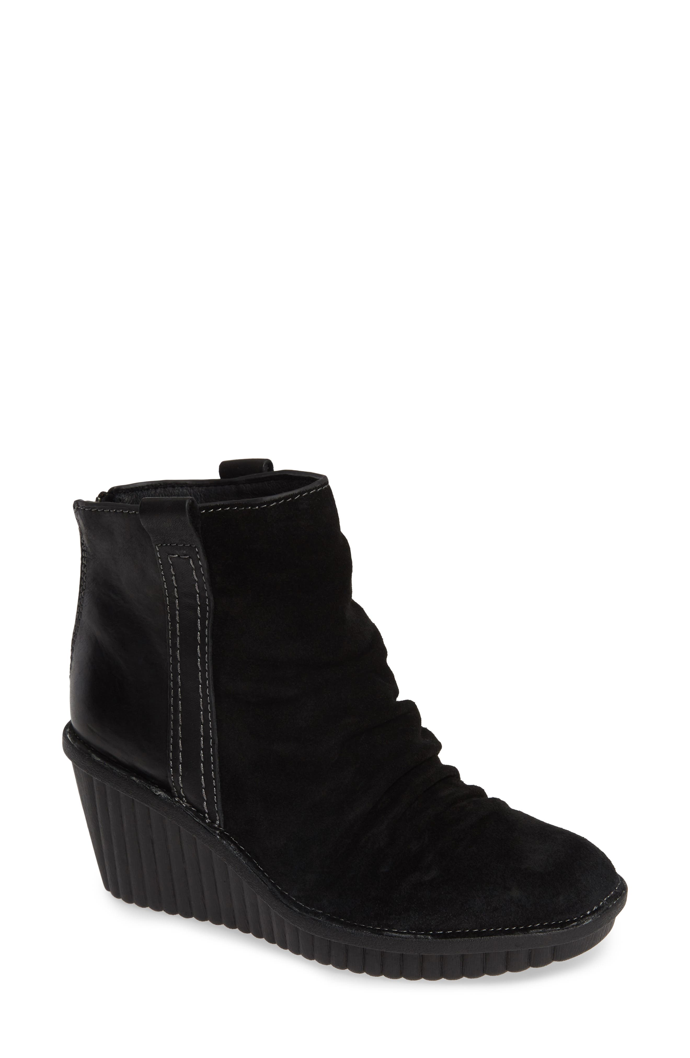 ,                             Destiny Wedge Bootie,                             Main thumbnail 1, color,                             BLACK LEATHER/ SUEDE