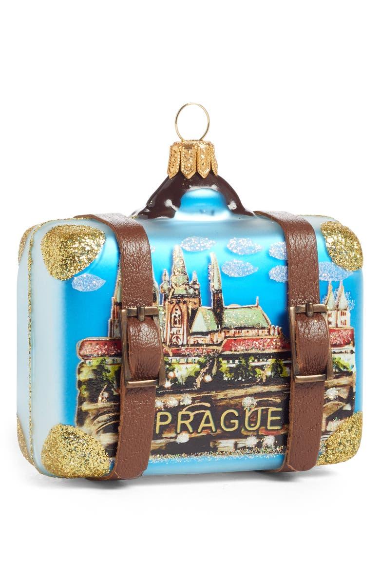 NORDSTROM AT HOME Handblown Glass Travel Suitcase Ornament, Main, color, BLUE PRAGUE