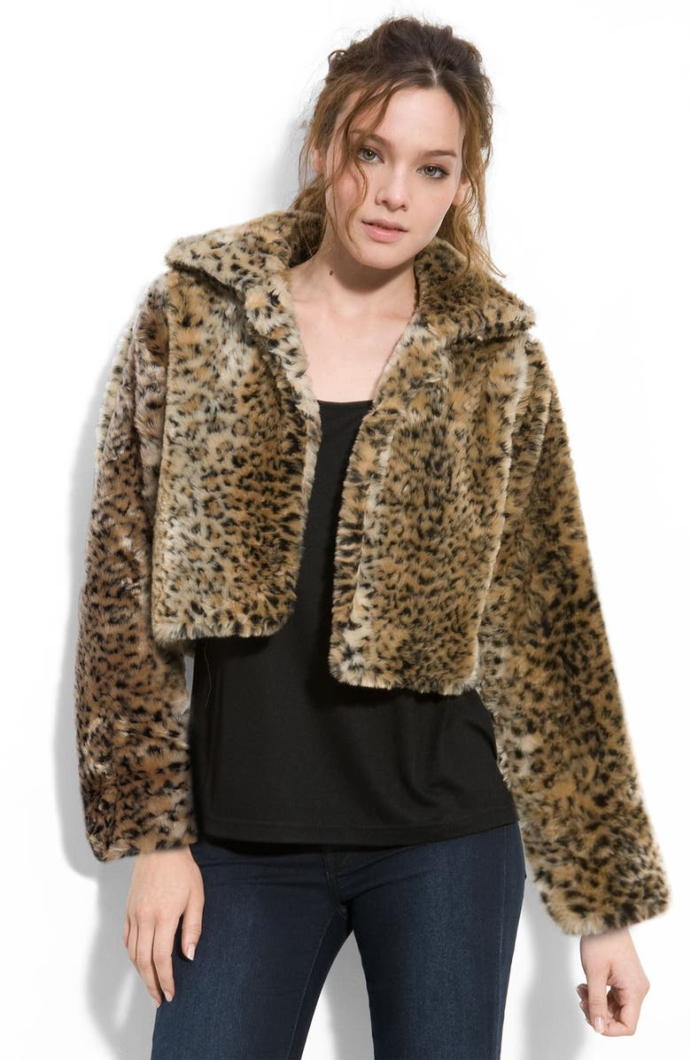 MINKPINK Faux Fur Crop Jacket, Main, color, 200