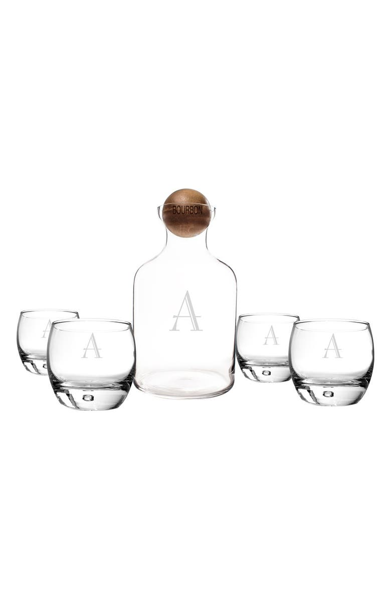 CATHY'S CONCEPTS Monogram Glass Scotch Decanter & Glasses, Main, color, 100