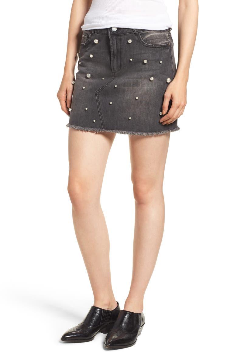 TINSEL Imitation Pearl Embellished Denim Skirt, Main, color, CHARCOAL