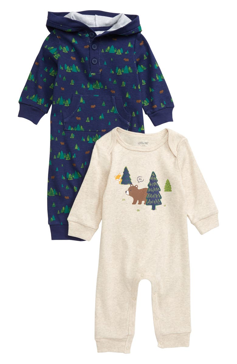 LITTLE ME Woodland 2-Pack Rompers, Main, color, OATMEAL