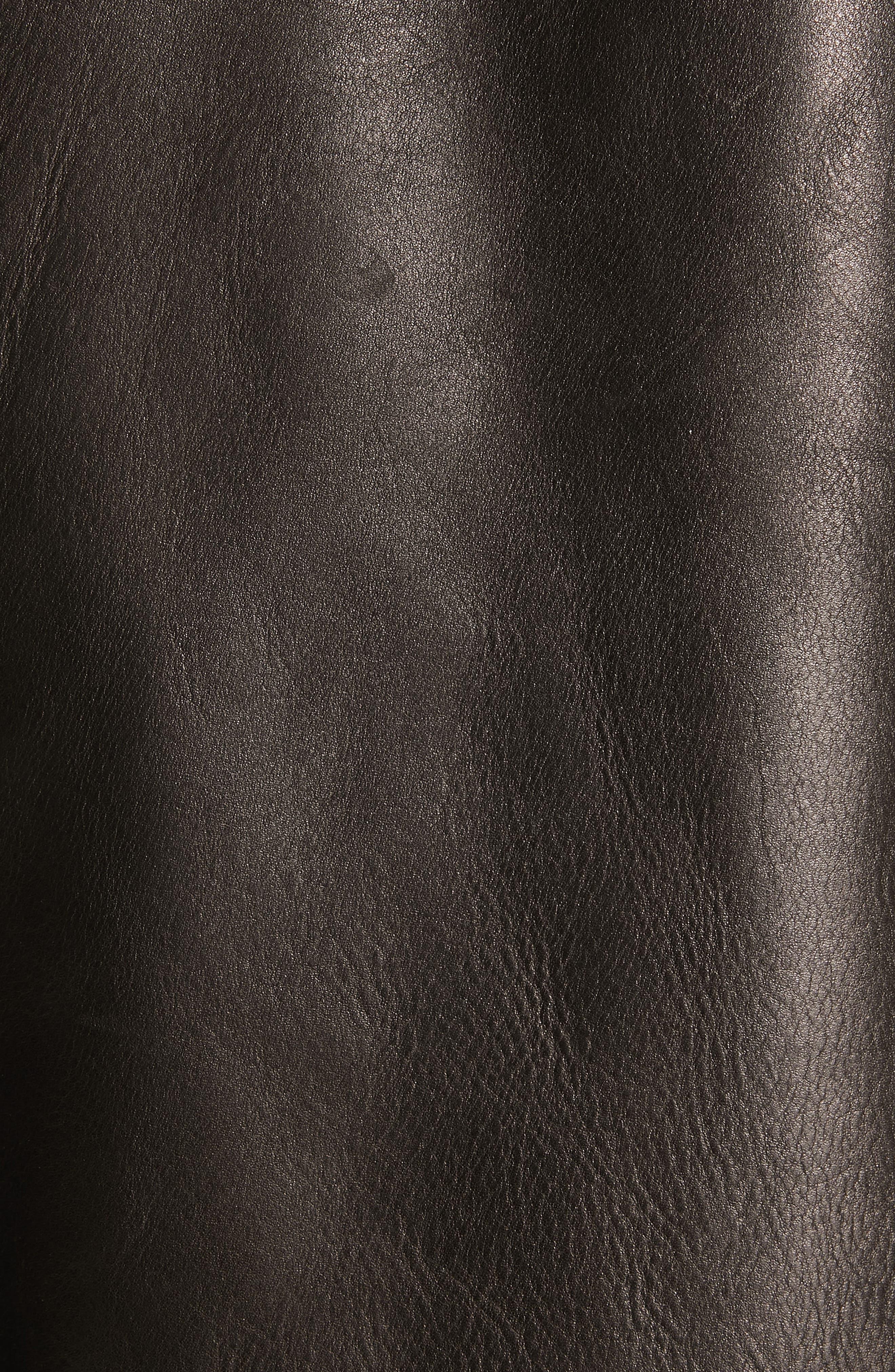 ,                             Lazlo Leather Bomber Jacket,                             Alternate thumbnail 5, color,                             BLACK