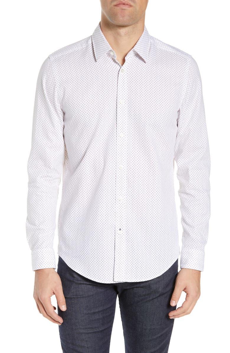 BOSS Lukas Regular Fit Microprint Sport Shirt, Main, color, 100