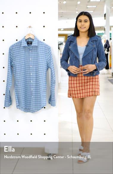 Trim Fit Stretch Non-Iron Plaid Dress Shirt, sales video thumbnail