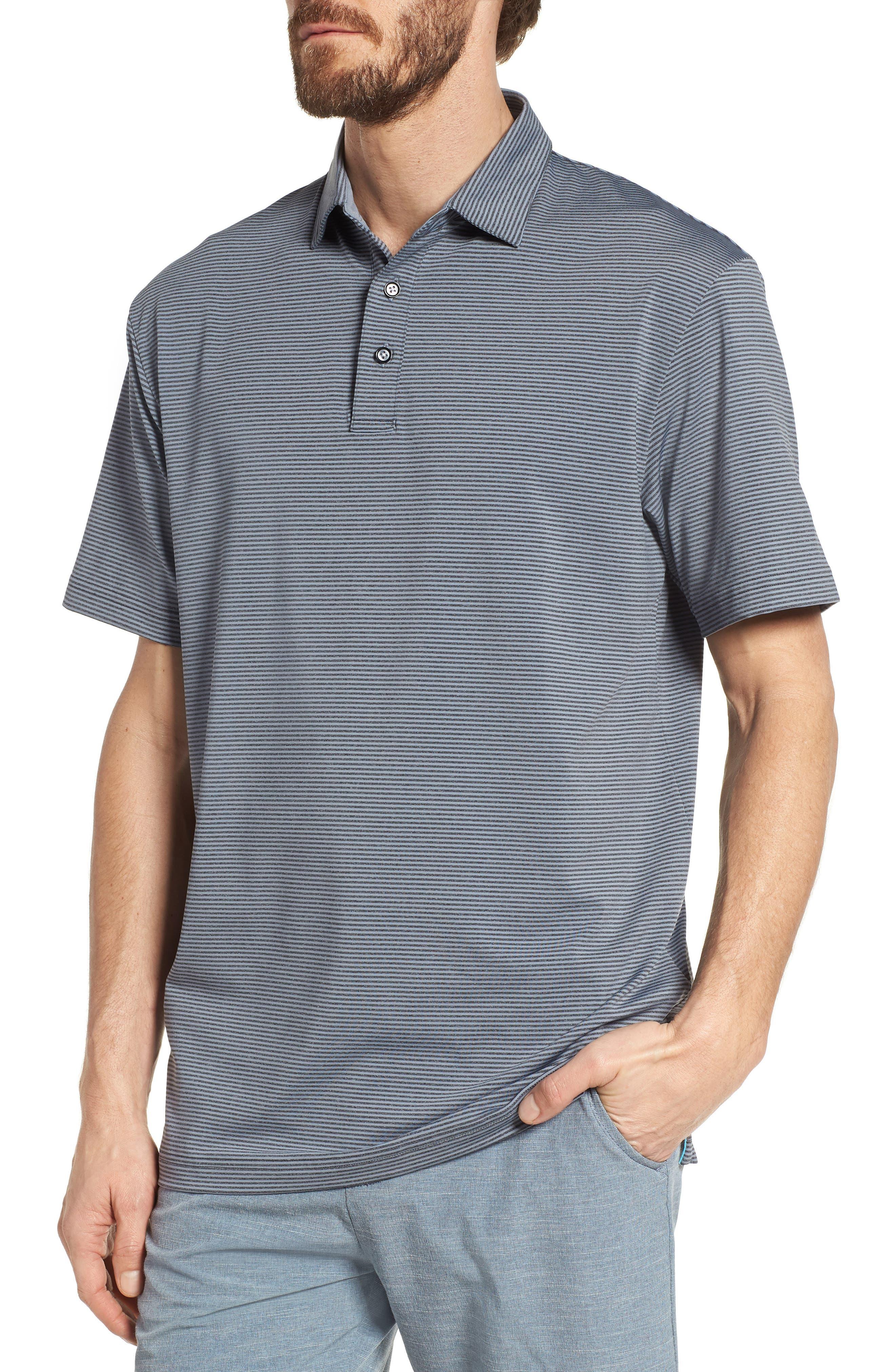 Devereux Oracle Stripe Jersey Polo, Blue