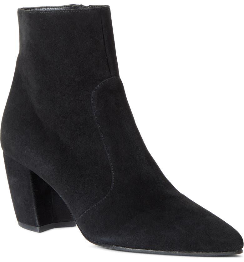 PRADA Pointy Toe Bootie, Main, color, BLACK SUEDE